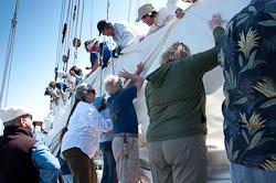 Zodiac - folding the sail