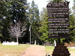 Mt Olivet cemetery sign for Black Americans in Roslyn