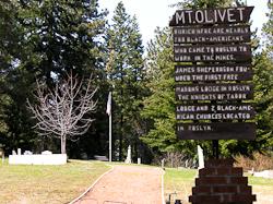 Mt Olivet cemetery sign for Black Americans in Roslyn